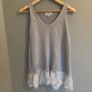 Cloud Chaser Gray Knit Tank Top Lace Trim Large